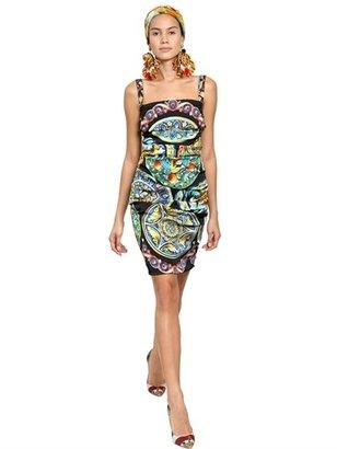 Dolce & Gabbana Plates Printed Stretch Charmeuse Dress