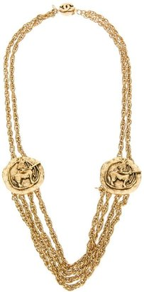 Chanel layered chain and coin necklace