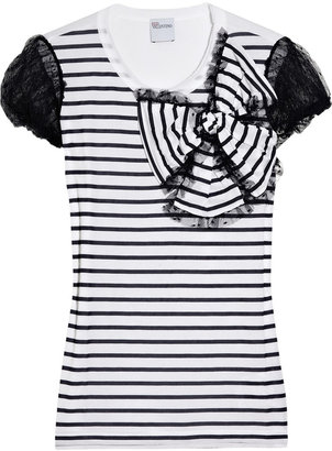 RED Valentino Lace-embellished striped modal T-shirt