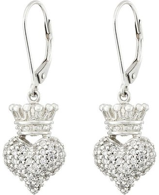 King Baby Studio - Small 3D Crowned Heart Lever Back Earrings Earring $190 thestylecure.com