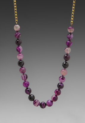 Kenneth Jay Lane 36' Gold Chain Agate Necklace