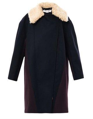 Stella McCartney Effie faux shearling collar coat