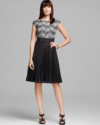Kay Unger Lace Top Pleated Skirt Dress