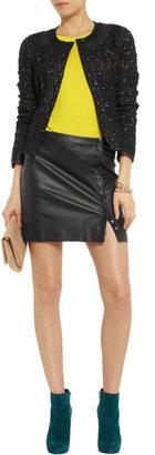 Diane von Furstenberg Maya leather-trimmed lace jacket