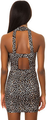 Motel The Alexi Dress in Leopard Black
