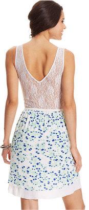 eric + lani Juniors' Printed Lace High-Low Dress