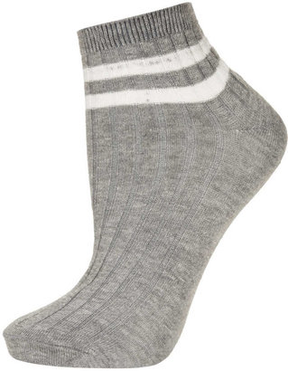 Topshop Grey 2 stripe trainer socks