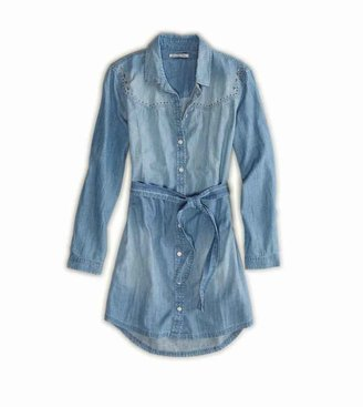 American Eagle AE Studded Chambray Shirt Dress