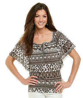 Amy Byer Printed Crinkle Knit Top