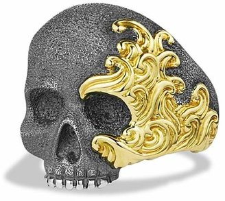 David Yurman Waves Large Skull Ring with Gold $1,400 thestylecure.com