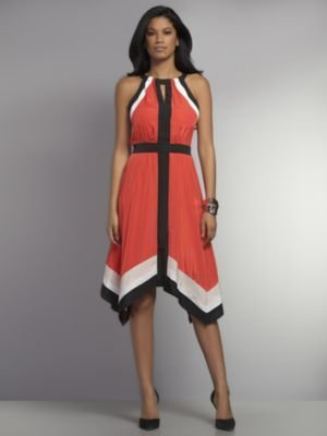 New York & Co. Colorblock Fit and Flare Maxi Halter Dress