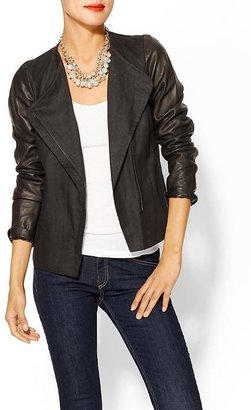 Vince Leather Sleeve Asymmetric Jacket