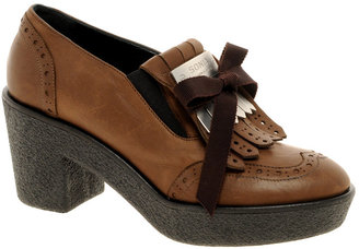 Sonia Rykiel Sonia By Brown Tassled Plaque Heeled Shoes