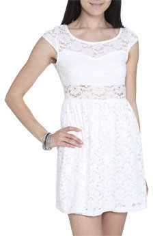 Wet Seal WetSeal Lace Illusion Skater Dress Marshmallow