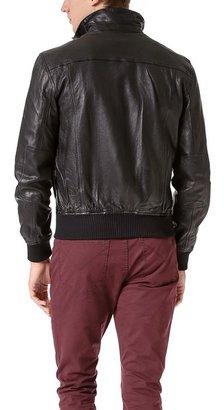 John Varvatos Band Collar Leather Zip Up Jacket
