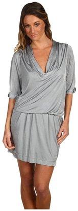 BCBGMAXAZRIA Interlock Jersey Pleated Dress (Limestone) - Apparel