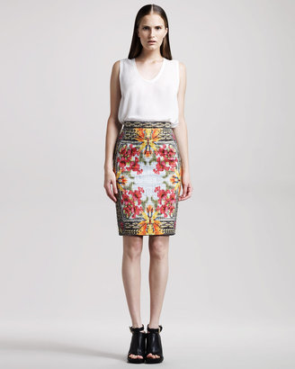 Givenchy Iris-Print Pencil Skirt