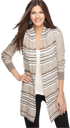 Alfani Sweater, Open Front Long Sleeves Striped Knit Cardigan
