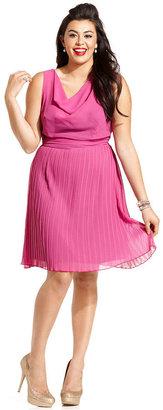 Ruby Rox Plus Size Dress, Sleeveless Pleated Cowl-Neck