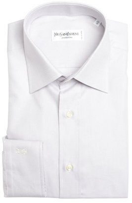 Yves Saint Laurent grey and white cotton textured micro check point collar dress shirt