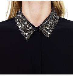Club Monaco Cierra Embellished Collar Top