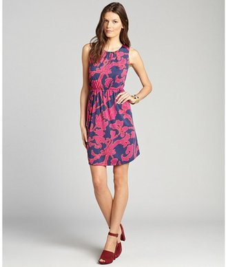 Julie Brown JB by fuchsia floral print jersey 'Gilly' sleeveless shift dress
