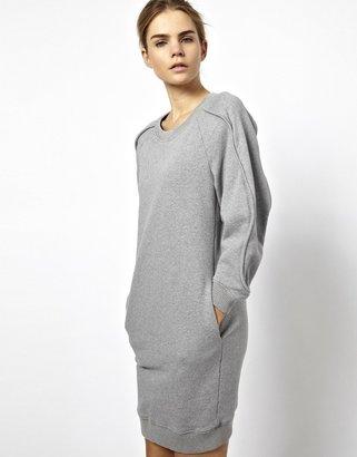 Chalayan Gray Line Sweatshirt Dress