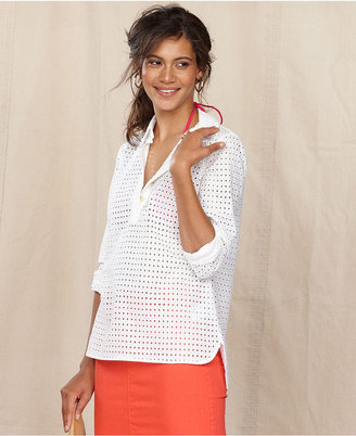 Tommy Hilfiger Top, Long-Sleeve Eyelet-Lace Tunic