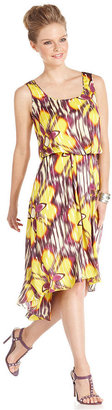 Vince Camuto Dress, Sleeveless Floral-Print High-Low Hem