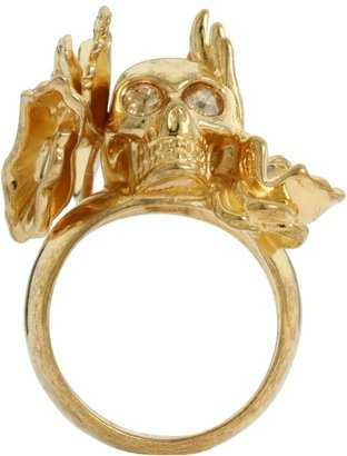 Alexander McQueen Skull Cocktail Ring Ottone (Sw. Cry. Gold) - Jewelry