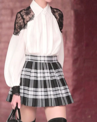 Alice + Olivia Fizer Box-Pleated Plaid Skirt