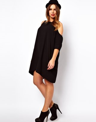 Asos Swing Dress With Cold Shoulder
