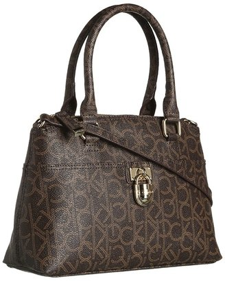 Calvin Klein Modena Monogram Satchel (Brown/Khaki) - Bags and Luggage