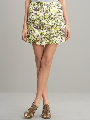 Banana Republic Print swirling ruffles skirt