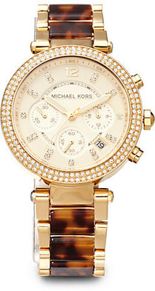 Michael Kors Crystal & Tortoise-Print Goldtone Stainless Steel Chronograph Watch