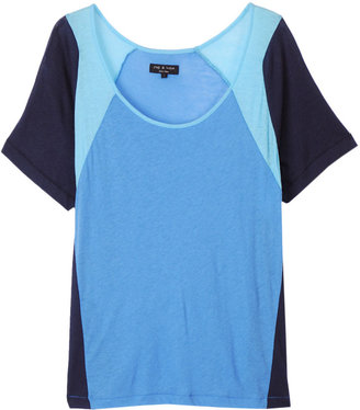 Rag and Bone Moto Boyfriend Tee - Blue