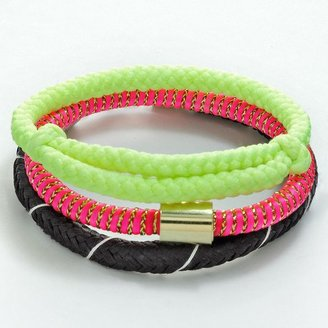 So two tone woven bracelet set