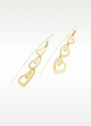 Stefano Patriarchi Golden Silver Etched Triple Heart Drop Earrings