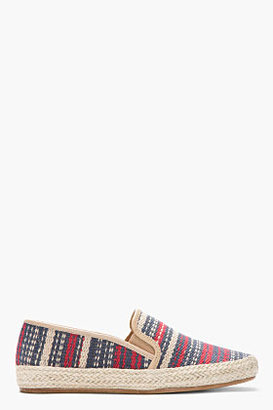 Sigerson Morrison BELLE Blue and red striped Casual Canvas espadrilles
