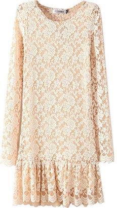 ChicNova Long-sleeve Pleated Lace Dress