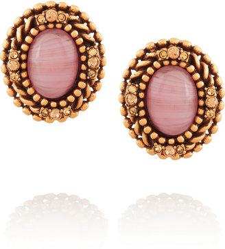 Oscar de la Renta Gold-plated, cabochon and crystal clip earrings