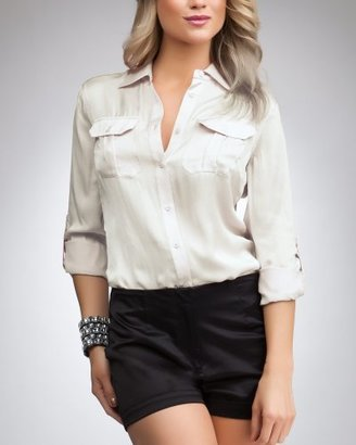 Bebe Skinny Silk Shirt