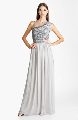 JS Collections Beaded Asymmetrical Shoulder Chiffon Gown