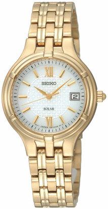 Seiko Watch, Women's Gold-Tone Stainless Steel Bracelet 28mm SUT018 $250 thestylecure.com