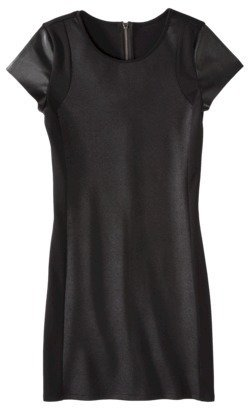 Mossimo Women's Short Sleeve Ponte w/Faux Leather Dress - Black