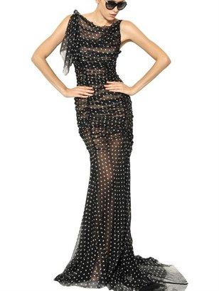 Nina Ricci Polka Dot Silk Chiffon Long Dress