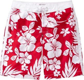 Old Navy Men's Hibiscus Print Board Shorts