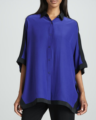 Lafayette 148 New York Studio 148 by Jodie Matte Silk Colorblock Top
