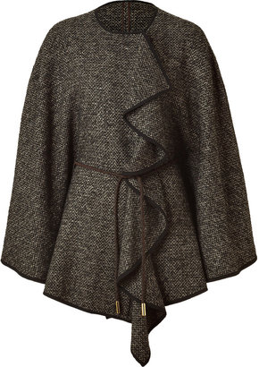 Etro Brown/Clay Belted Tweed Poncho