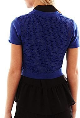 JCPenney Crocheted-Back Cardigan